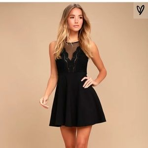 I promise black lace skater dress